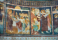 Interior Byzantine Romanesque style Christian frescoes of biblical scenes, Santissima Trinita di Saccargia, consecrated 1116 AD, Codrongianos, Sardinia. .<br /> <br /> Visit our SARDINIA HISTORIC PLACXES PHOTO COLLECTIONS for more photos to download or buy as wall art prints https://funkystock.photoshelter.com/gallery-collection/Pictures-Images-of-Sardinia-Sardinia-Historical-Travel-Sites/C0000MEM.pIAwgvM <br /> .<br /> Visit our MEDIEVAL PHOTO COLLECTIONS for more   photos  to download or buy as prints https://funkystock.photoshelter.com/gallery-collection/Medieval-Middle-Ages-Historic-Places-Arcaeological-Sites-Pictures-Images-of/C0000B5ZA54_WD0s