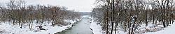 Panoramic image of Trinity River in winter snow, Dallas, Texas, USA.