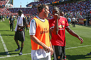 Real Madrid Midfielder Gareth Bale and Manchester United Forward Romelu Lukaku share a joke during the AON Tour 2017 match between Real Madrid and Manchester United at the Levi's Stadium, Santa Clara, USA on 23 July 2017.