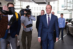 © Licensed to London News Pictures. 26/05/2019. London, UK. DOMINIC RAAB MP is seen leaving BBC Broadcasting Houses in London. A number of Conservative MPs have entered the race to be the new leader of the party. Photo credit: George Cracknell Wright/LNP