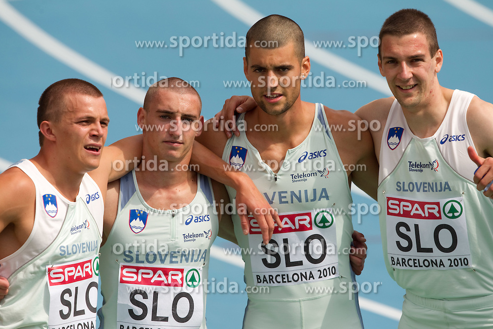 Erik Voncina, Uros Jovanovic, Marko Macuh and Sebastjan Jagarinec of Slovenia after  the 4x400m Mens Relay Heats during day five of the 20th European Athletics Championships at the Olympic Stadium on July 31, 2010 in Barcelona, Spain.  (Photo by Vid Ponikvar / Sportida)