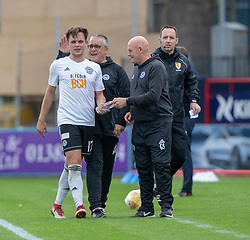 Ayr United's Laurence Shankland after being subbed off. Dundee 0 v 3 Ayr United, Scottish League Cup Second Round, played 18/8/2018 at the Kilmac Stadium at Dens Park, Scotland.