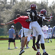 DeAnte Saunders (2) celebrates during the practice session at the Walt Disney Wide World of Sports Complex in preparation for the Under Armour All-America high school football game on December 3, 2011 in Lake Buena Vista, Florida. (AP Photo/Alex Menendez)