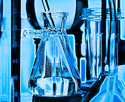 Glass vials and beakers used in medical scientific research. lab, laboratory.