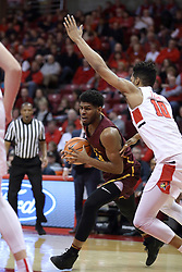 10 January 2018:  Aundre Jackson defended by Phil Fayne during a College mens basketball game between the Loyola Chicago Ramblers and Illinois State Redbirds in Redbird Arena, Normal IL