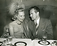 1952 Sonja Henie & Kjell T. Holm at the Mocambo nightclub on Sunset Blvd.