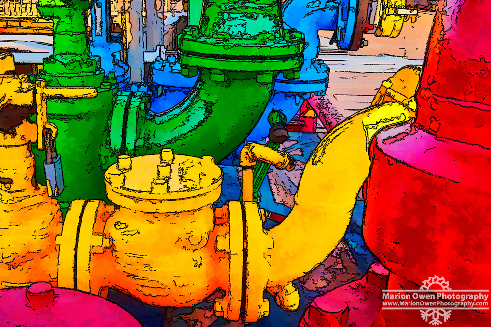 Posterization of fuel pipe manifold using bold colors