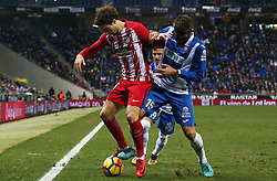 December 22, 2017 - Barcelona, Spain - Sime Vrsaljko and David Lopez during the La Liga match between RCD Espanyol and Atletico de Madrid, in Barcelona, on December 22, 2017. Photo: Joan Valls/Urbanandsport/Nurphoto  (Credit Image: © Joan Valls/NurPhoto via ZUMA Press)