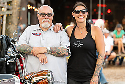 Hosts Jody and Dave Perewitz at their Perewitz Paint Show at the Broken Spoke Saloon during Daytona Beach Bike Week, FL. USA. Wednesday, March 13, 2019. Photography ©2019 Michael Lichter.