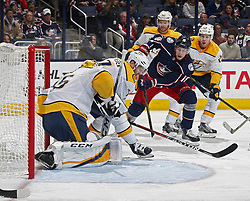 November 7, 2017 - Columbus, OH, USA - Nashville Predators goalie Pekka Rinne (35) makes a save on a shot by the Columbus Blue Jackets' Pierre-Luc Dubois (18) during the first period at Nationwide Arena on November 7, 2017. (Credit Image: © Kyle Robertson/TNS via ZUMA Wire)