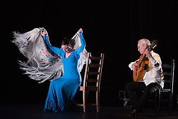 "© Licensed to London News Pictures. 23/06/2015. London, UK. Carmen Rivas ""La Talegona"" and Paco Peña performing ""Granaína"". Paco Peña Dance Company perform the UK premiere of ""Flamencura"" at Sadler's Wells Theatre. The flamenco show runs from 20 to 28 June 2015 and features six musicians and three dancers.Photo credit: Bettina Strenske/LNP"