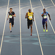 Athletics - Olympics: Day 13  A panoramic view of Usain Bolt of Jamaica winning the gold medal in the Men's 200m Final with Andre De Grasse of Canada winning the silver medal and Christophe Lemaitre of France winning the bronze medal at the Olympic Stadium on August 18, 2016 in Rio de Janeiro, Brazil. (Photo by Tim Clayton/Corbis via Getty Images)
