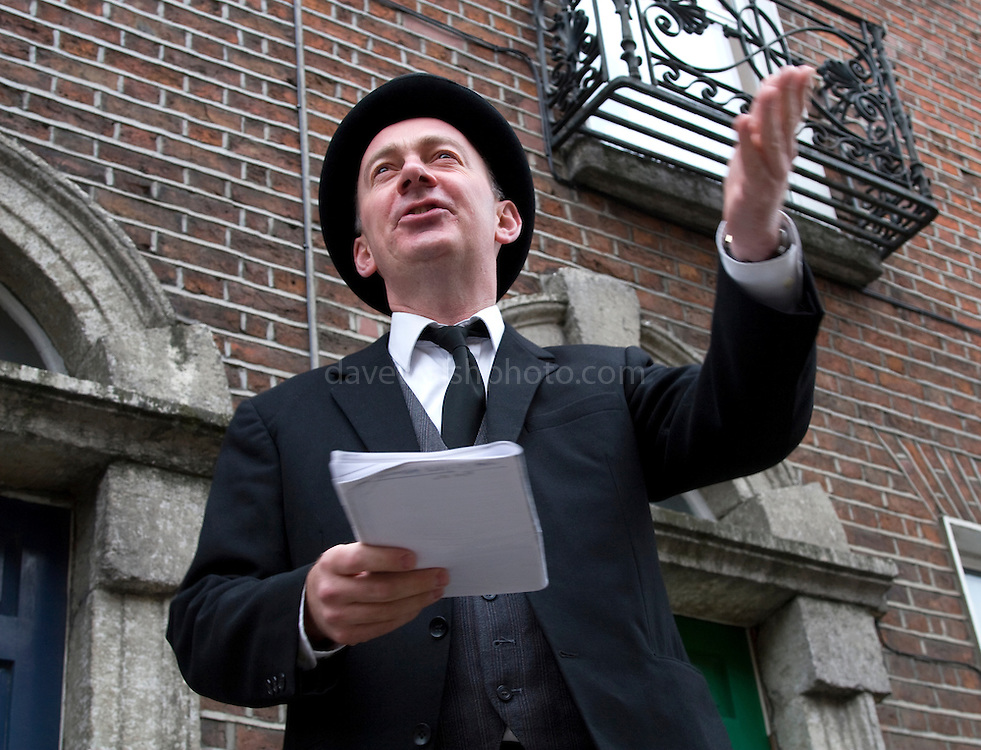 """Editorial Use Only. Bloomsday June  16th 2008, Dublin. Actor Paul O'Hanrahan from Balloonatics theatre company performs the """"Calypso"""" chapter from  James Joyce novel Ulysses around Eccles St. and Dorset Street."""