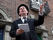 "Editorial Use Only. Bloomsday June  16th 2008, Dublin. Actor Paul O'Hanrahan from Balloonatics theatre company performs the ""Calypso"" chapter from  James Joyce novel Ulysses around Eccles St. and Dorset Street."