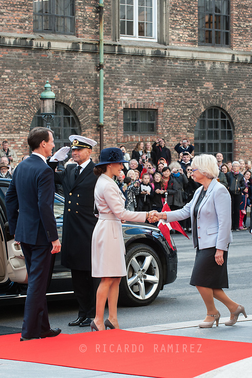 03.10.2017. Copenhagen, Denmark. <br /> Princess Marie and Prince Joachim arrival to Christiansborg Palace for attended the opening session of the Danish Parliament (Folketinget).<br /> Photo: © Ricardo Ramirez