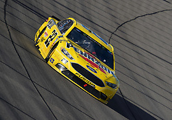 March 4, 2018 - Las Vegas, NV, U.S. - LAS VEGAS, NV - MARCH 04: Joey Logano (22) Team Penske Pennzoil Ford Fusion drives into turn 1 during the Monster Energy NASCAR Cup Series Pennzoil 400 on March 04, 2018 at Las Vegas Motor Speedway in Las Vegas, NV. (Photo by Chris Williams/Icon Sportswire) (Credit Image: © Chris Williams/Icon SMI via ZUMA Press)