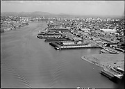 """Ackroyd 08414-2. """"Portland aerial views. July 3, 1958"""" (5x7"""") (NW Portland waterfront looking south. Shaver on right, West Coast Terminals)"""