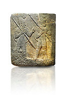 Picture & image of Hittite relief sculpted orthostat stone panel of Herald's Wall. Limestone, Karkamıs, (Kargamıs), Carchemish (Karkemish), 900-700 B.C. Military parade. Anatolian Civilisations Museum, Ankara, Turkey.<br /> <br /> Three helmeted soldiers in short skirts carry the shield on their backs and the spears in their hands. The bottom right part of the relief was left untreated since the pedestal stood in front of it. <br /> <br /> Against a white background. .<br />  <br /> If you prefer to buy from our ALAMY STOCK LIBRARY page at https://www.alamy.com/portfolio/paul-williams-funkystock/hittite-art-antiquities.html  - Type  Karkamıs in LOWER SEARCH WITHIN GALLERY box. Refine search by adding background colour, place, museum etc.<br /> <br /> Visit our HITTITE PHOTO COLLECTIONS for more photos to download or buy as wall art prints https://funkystock.photoshelter.com/gallery-collection/The-Hittites-Art-Artefacts-Antiquities-Historic-Sites-Pictures-Images-of/C0000NUBSMhSc3Oo