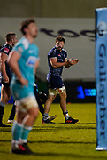 Sale Sharks Sam Dugdale celebrates his teams late try during the Gallagher Premiership match Sale Sharks -V- Worcester Warriors at The AJ Bell Stadium, Greater Manchester,England United Kingdom, Friday, January 08, 2021. (Steve Flynn/Image of Sport)