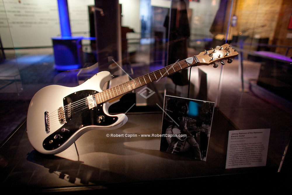Johnny Ramone of The Ramones electric guitar on display at The Rock and Roll Hall of Fame Annex in New York City..(Photo by Robert Caplin)..
