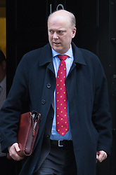 Downing Street, London, January 26th 2016. Leader of the House of Commons Chris Grayling leaves 10 Downing Street following the weekly Cabinet meeting. ///FOR LICENCING CONTACT: paul@pauldaveycreative.co.uk TEL:+44 (0) 7966 016 296 or +44 (0) 20 8969 6875. ©2015 Paul R Davey. All rights reserved.