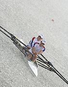 Eton, GREAT BRITAIN,  2006 World Rowing Championships, GBR LM2X, Stroke Mark HUNTER and James LINDSAY-FYNN.  21/08/2006.  [Mandatory Credit,Peter Spurrier, © Intersport Images,   , Rowing Courses, Dorney Lake, Eton. ENGLAND © Peter SPURRIER, Atmospheric, Rowing