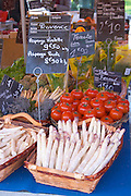 Street market merchant's stall with white asparagus, tomatoes Sanary Var Cote d'Azur France