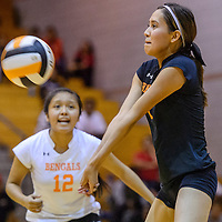 Gallup Bengal Taylor Toadlena (1) bumps up a serve from the Shiprock Chieftains Tuesday at Gallup High School.