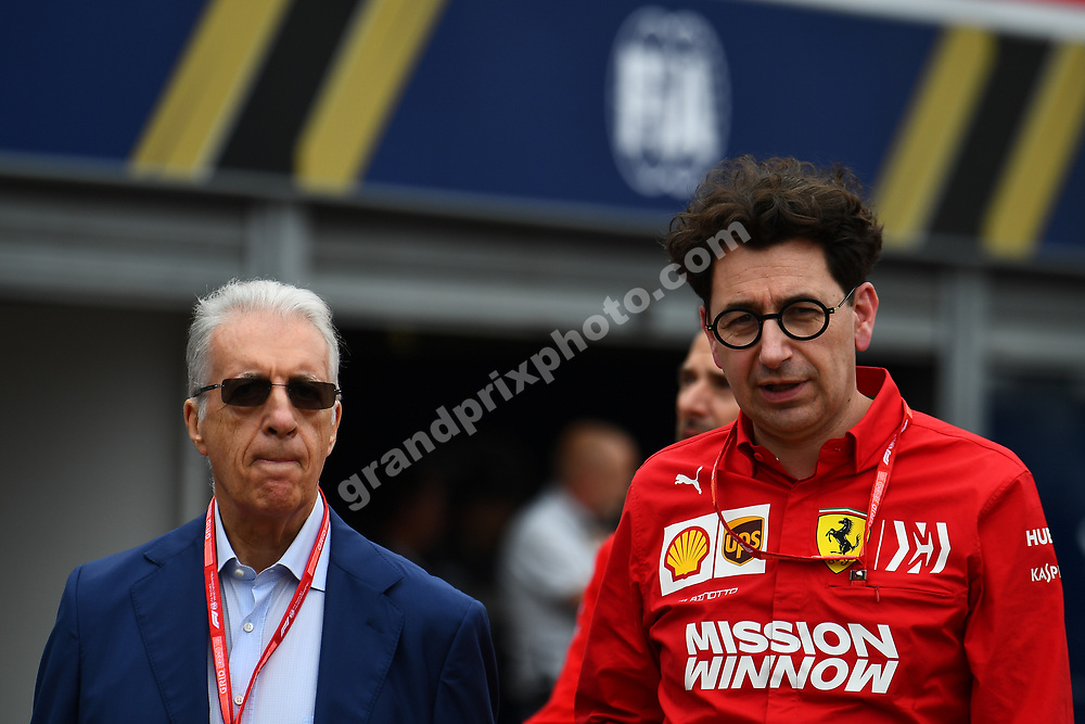 Piero Ferrari and Mattia Binotto after practice before the 2019 Monaco Grand Prix. Photo: Grand Prix Photo