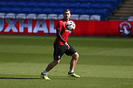 Sam Vokes of Wales in action during the Wales football team training at the Cardiff city Stadium in Cardiff , South Wales on Friday 1st September 2017.  the team are preparing for their FIFA World Cup qualifier home to Austria tomorrow.  pic by Andrew Orchard, Andrew Orchard sports photography