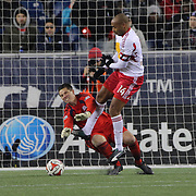 Goalkeeper Bobby Shuttleworth, New England Revolution,  saves at the feet of Thierry Henry, New York Red Bulls, during the New England Revolution Vs New York Red Bulls, MLS Eastern Conference Final, second leg. Gillette Stadium, Foxborough, Massachusetts, USA. 29th November 2014. Photo Tim Clayton