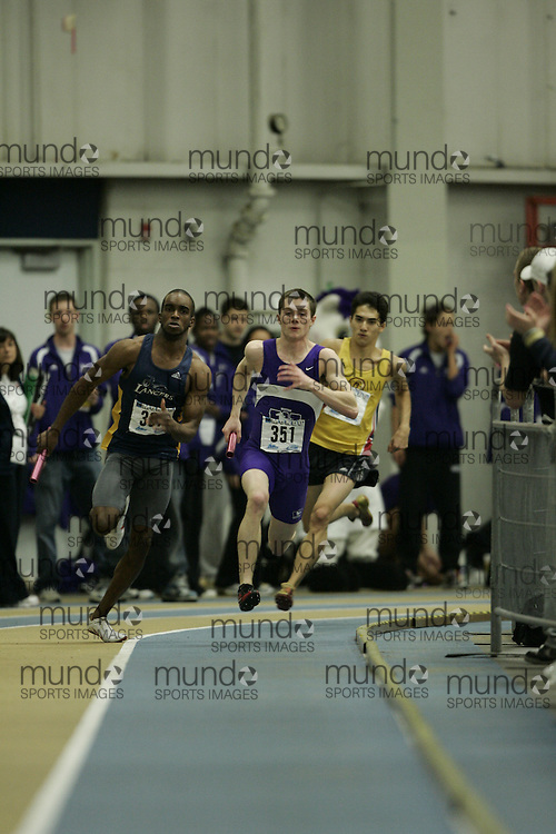 (Windsor, Ontario---13 March 2010) Scott Leitch of University of Western Ontario Mustangs  competes in the men's 4X400 meters at the 2010 Canadian Interuniversity Sport Track and Field Championships at the St. Denis Center. Photograph copyright GEOFF ROBINS/Mundo Sport Images. www.mundosportimages.com