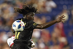 July 28, 2018 - Harrison, New Jersey, U.S - Columbus Crew SC Defender LALAS ABUBAKAR (17) in action at Red Bull Arena in Harrison New Jersey Columbus defeats New York 3 to 2 (Credit Image: © Brooks Von Arx via ZUMA Wire)
