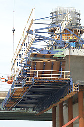 West Support Tower, New Pearl Harbor Memorial Bridge under Construction at New Haven Harbor Crossing, Connectictut. CONNDOT Contract B, Project #92-618. When complete the alternately named Quinnipiac River Bridge will be first Extradosed Engineered & Designed Bridge in the United States.