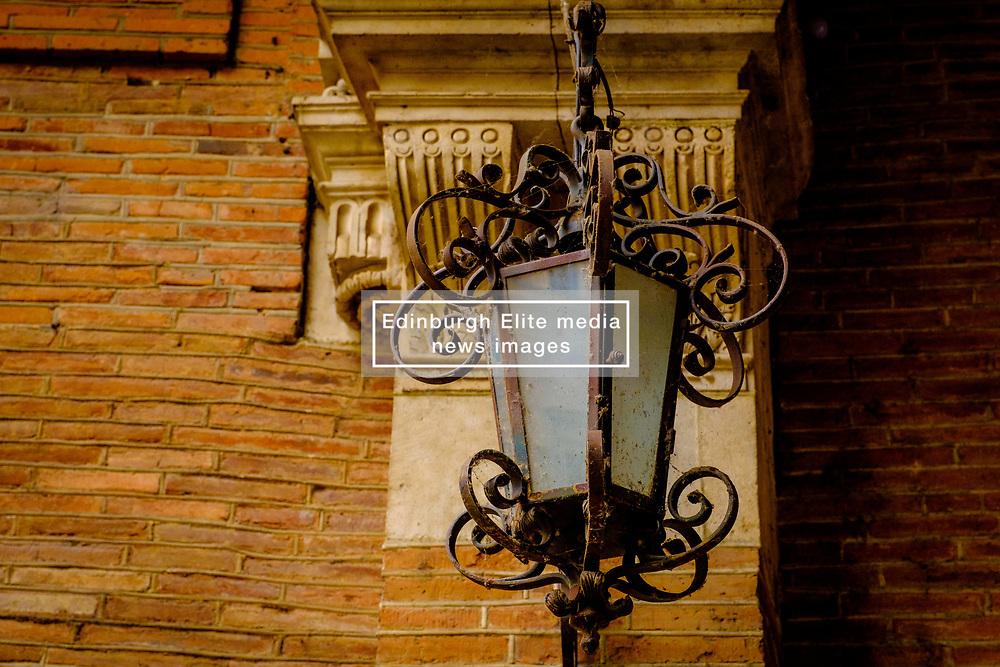 The Société Archéologique du Midi de la France - detail of a lamp at the Archaeological Museum in Toulouse, France<br /> <br /> (c) Andrew Wilson | Edinburgh Elite media
