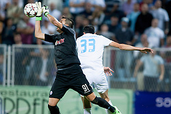 Lovre Kalinic #91 of HNK Hajduk Split vs. Ivan Krstanovic #33 of HNK Rijeka during football match between HNK Rijeka and HNK Hajduk Split in 11th Round of Prva Hrvaska Nogometna Liga MaxTV 2013/14 on September 28, 2013 in Stadion Kantrida, Rijeka, Croatia. (Photo By Urban Urbanc / Sportida.com)