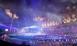 Performers and fireworks during the Opening Ceremony for the 2018 Commonwealth Games at the Carrara Stadium in the Gold Coast, Australia. PRESS ASSOCIATION Photo. Picture date: Wednesday April 4, 2018. See PA story COMMONWEALTH Ceremony. Photo credit should read: Martin Rickett/PA Wire. RESTRICTIONS: Editorial use only. No commercial use. No video emulation