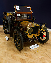 © Licensed to London News Pictures. 01/11/2012. London, UK. A 1904 Richard-Brasier 16hp Four-Cylinder Side-Entrance Tonneau (est. GB£220,000-300,000) is seen at Bonham's New Oxford Street auction house ahead of a veteran car sale this Friday (02/11/12).  The annual auction entitled 'Veteran Motor Cars and Related Automobilia', takes place the on Friday the 2 November, the day before the Bonham's sponsored 'London to Brighton Veteran Car Run' an event for which some of the cars are already registered to enter. Photo credit: Matt Cetti-Roberts/LNP