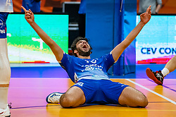 Hossein Ghanbari of Lycurgus celebrate during the cup final between Amysoft Lycurgus vs. Draisma Dynamo on April 18, 2021 in sports hall Alfa College in Groningen
