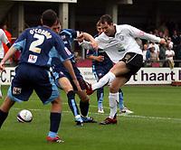 Photo: Mark Stephenson.<br /> Hereford United v Brentford. Coca Cola League 2. 06/10/2007.Hereford's Steve Guinan takes a shot
