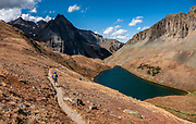 Middle Blue Lake, Mt Sneffels Wilderness, Uncompahgre National Forest, San Juan Mountains, Ridgway, Colorado, USA. This image was stitched from multiple overlapping photos.