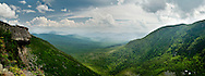 """The view looking southeast from the trail leading up Cater Dome in New Hampshire""""s White Mountain National Forest.  In the lower right corner is the Appalachian Mountain Club's Carter Notch Hut."""