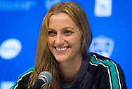 Petra Kvitova of the Czech Republic talks to the media after winning her third-round match at the 2018 Western and Southern Open WTA Premier 5 tennis tournament, Cincinnati, Ohio, USA, on August 16th 2018 - Photo Rob Prange / SpainProSportsImages / DPPI / ProSportsImages / DPPI