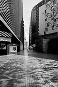 EDITORS NOTE: Image has been converted to black and white. One London, in the business district, is deserted due to lockdown as a result of the Coronavirus Pandemic on 16th April 2020 in London, United Kingdom. Coronavirus or Covid-19 is a new respiratory illness that has not previously been seen in humans. Much of Europe has been placed into lockdown, with stringent rules in place as part of a long term strategy, and in particular social distancing, and a stay at home policy.