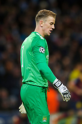 Man City Goalkeeper Joe Hart (ENG) looks dejected after Barcelona's second goal goes in - Photo mandatory by-line: Rogan Thomson/JMP - Tel: 07966 386802 - 18/02/2014 - SPORT - FOOTBALL - Etihad Stadium, Manchester - Manchester City v Barcelona - UEFA Champions League, Round of 16, First leg.