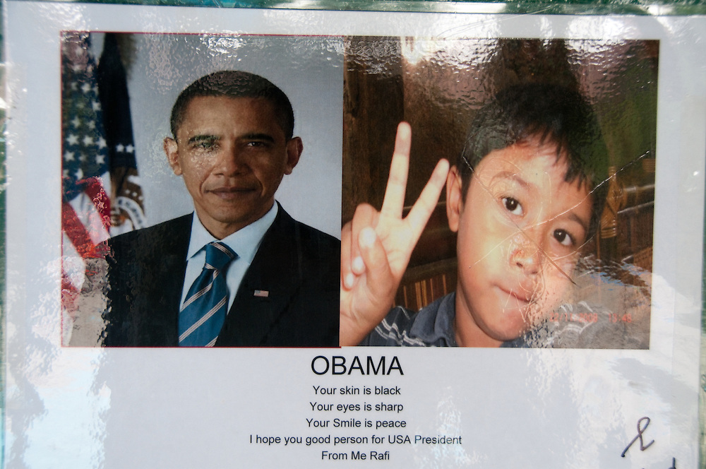 Java, Jakarta.  Barack Obama lived in Jakarta from age 5-10.  This is his childhood elementary school, where he is a big hero. Letters from current students to Obama are displayed in the courtyard.