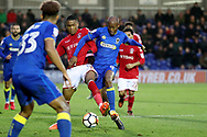 AFC Wimbledon midfielder Jimmy Abdou (8) battles for possession with Charlton Athletic defender Ezri Konsa (15) during the The FA Cup match between AFC Wimbledon and Charlton Athletic at the Cherry Red Records Stadium, Kingston, England on 3 December 2017. Photo by Matthew Redman.