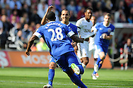 Everton's Victor Anichebe (28) celebrates with Seamus Coleman after he scores the opening goal.  Barclays Premier league, Swansea city v Everton at the Liberty stadium in Swansea, South Wales on Sat 22nd Sept 2012.   pic by  Andrew Orchard, Andrew Orchard sports photography,
