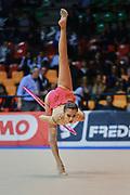Egizia Bergesio atleta della società Raffaello Motto di Viareggio durante la seconda prova del Campionato Italiano di Ginnastica Ritmica.<br /> La gara si è svolta a Desio il 31 ottobre 2015.