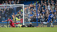 Football - 2016/2017 Premier League - Chelsea V Leicester.<br /> <br /> Eden Hazard of Chelsea slips the abll round the outstretched Kasper Schmeichel of Leicester City to score Chelsea's second goal at Stamford Bridge.<br /> <br /> COLORSPORT/DANIEL BEARHAM